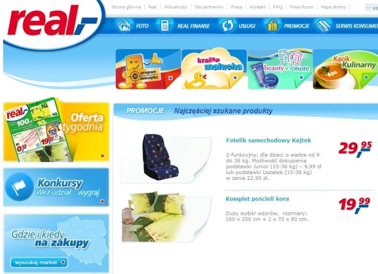 Na zdjęciu powyżej: printscreen z omawianą reklamą, wyrób fotelikopodobny Kajtek