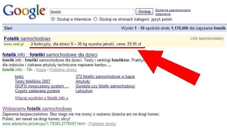 Na zdjęciu powyżej: wyrób fotelikopodobny, printscreen z omawianą reklamą Google