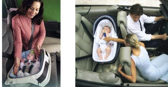 Łożeczko podróżne car beds dla niemowląt o zbyt niskiej wadze urodzeniowej - rozwiązanie stosowane w USA, po prawej: Gondola Ingesina przystosowana do montażu w samochodzie