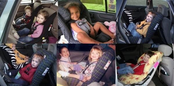 Dzieci w wieku 2-4 lat w fotelikach montowanych tyłem do kierunku ruchu przy użyciu LATCH