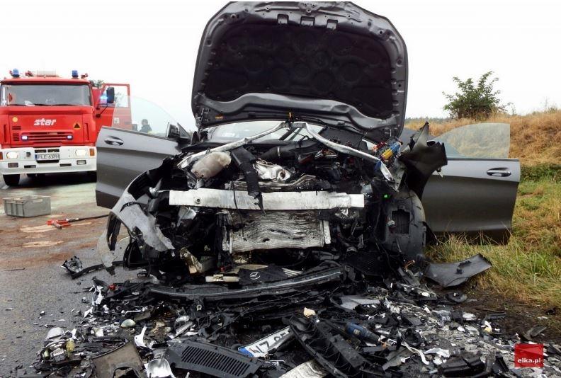 Niestety, tragicznego w skutkach wypadku nie przeżył 10-letni chłopiec, jadący na podpupniku. fot. Bartłomiej Klupś, portal elka.pl