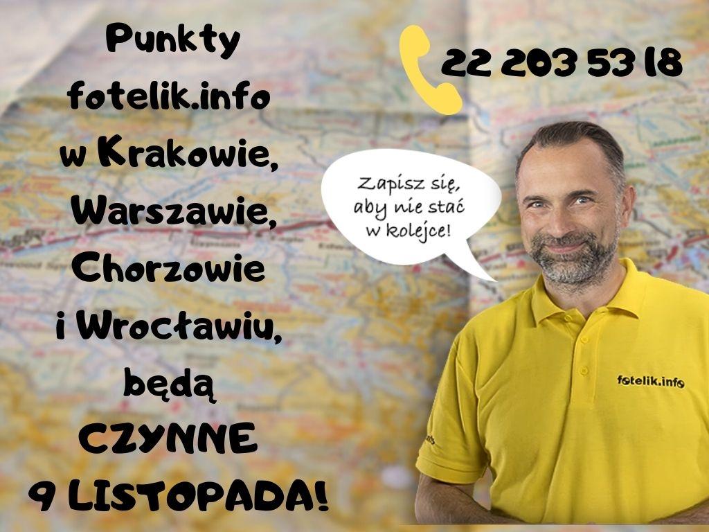 Wszystkie punkty foteliki.info w Warszawie, Chorzowie, Krakowie i Wrocławiu, będą czynne w długi weekend! Zapraszamy na dobory fotelików 9 listopada!