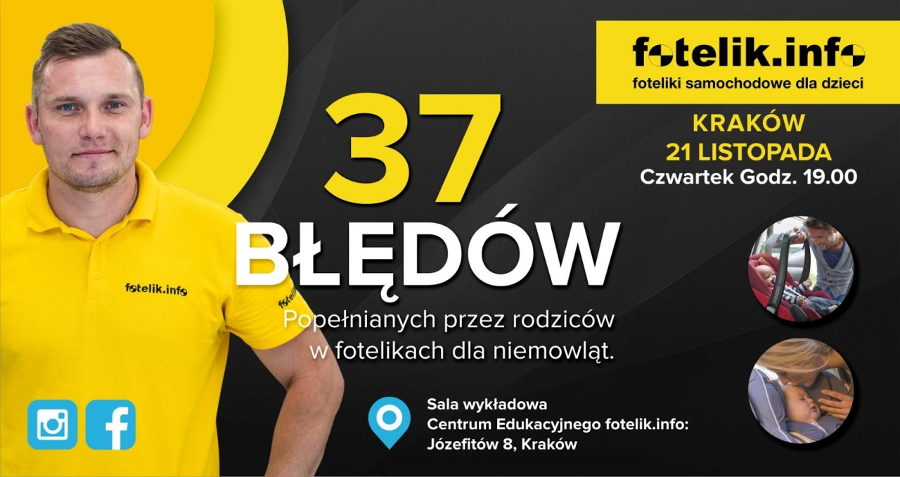 na zdjęciu - Piotr Wawrzyńczak, technik fotelik.info, który poprowadzi szkolenie z zakresu błędów popełnianych przy fotelikach 0-13 kg