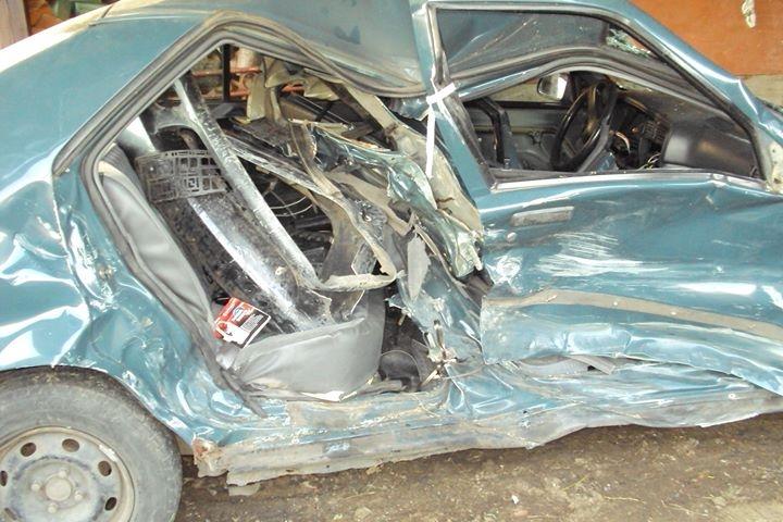 Na zdjęciu - samochód Pani Patrycji po wypadku...