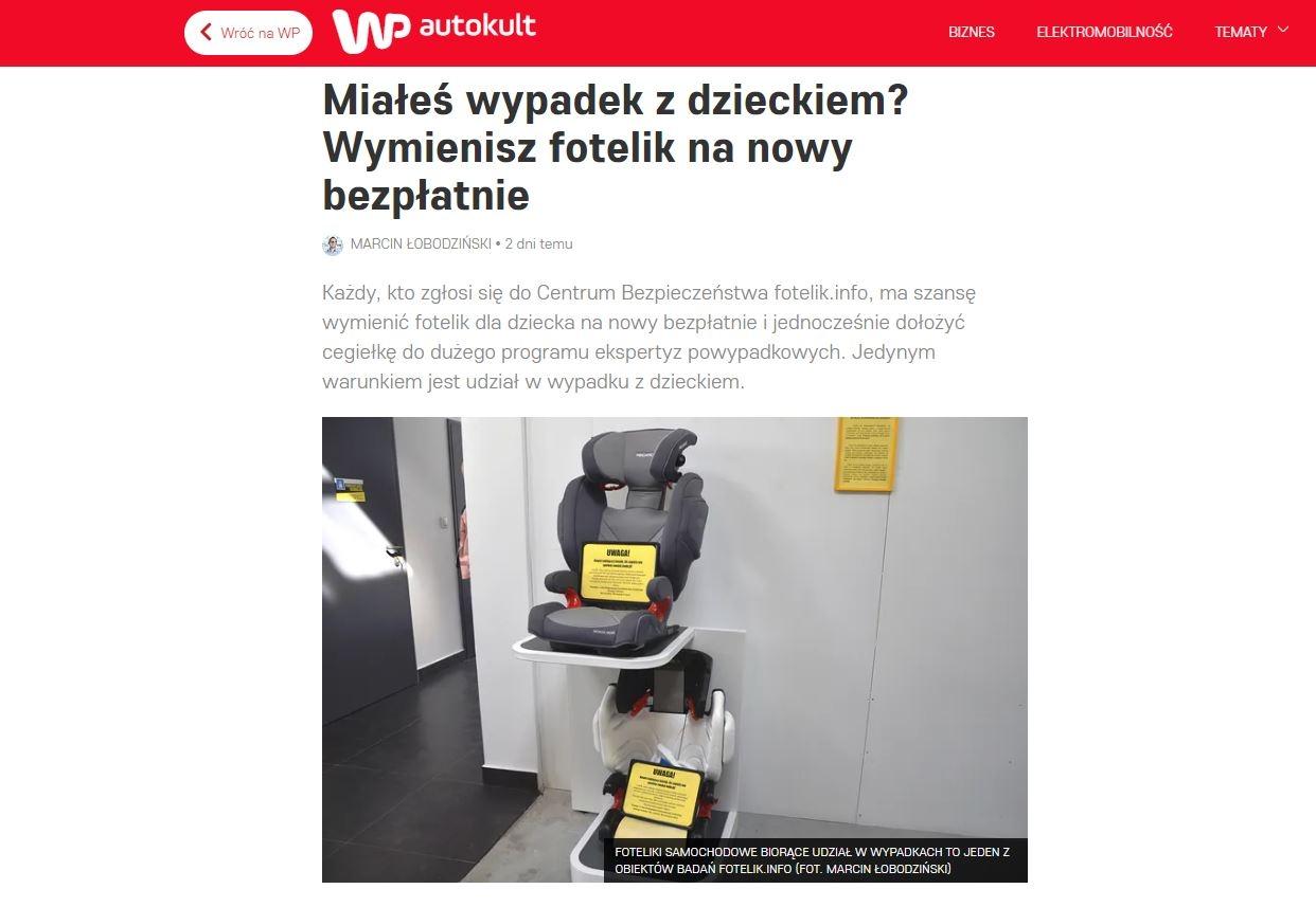 Wirtualna Polska, napisała ostatnio artykuł nt inicjatywy fotelik.info w sprawie programu wymiany fotelików powypadkowych. Przeczytaj, o co chodzi w programie!