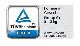 TÜV to niemiecki certyfikat uprawniający do korzystania z fotelika podczas podróży samolotem. Wydawany jest na podstawie specjalistycznych testów. Jeśli fotelik nie ma oznaczenia TÜV oraz nalepki - For Use In Aircraft, oznacza to, że nie został oficjalnie dopuszczony do użytku w samolocie.