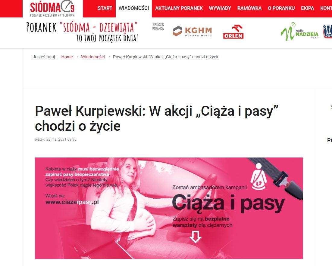 Paweł Kurpiewski9 - biomechanik zderzeń i ekspert ds bezpieczeństwa dzieci w samochodach, opowiedział o kampanii Ciąża i Pasy na falach Rozgłośni Katolickich - Poranek Siódma-Dziewiąta