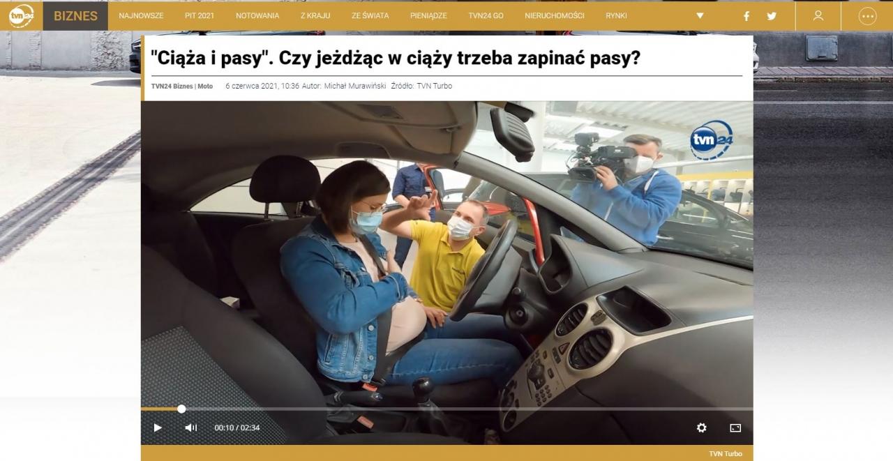 Na stronie TVN24 możemy obejrzeć materiał kręcony w fotelik.info. Mowa w nim o zapinaniu w ciąży<br /> pasów bezpieczeństwa