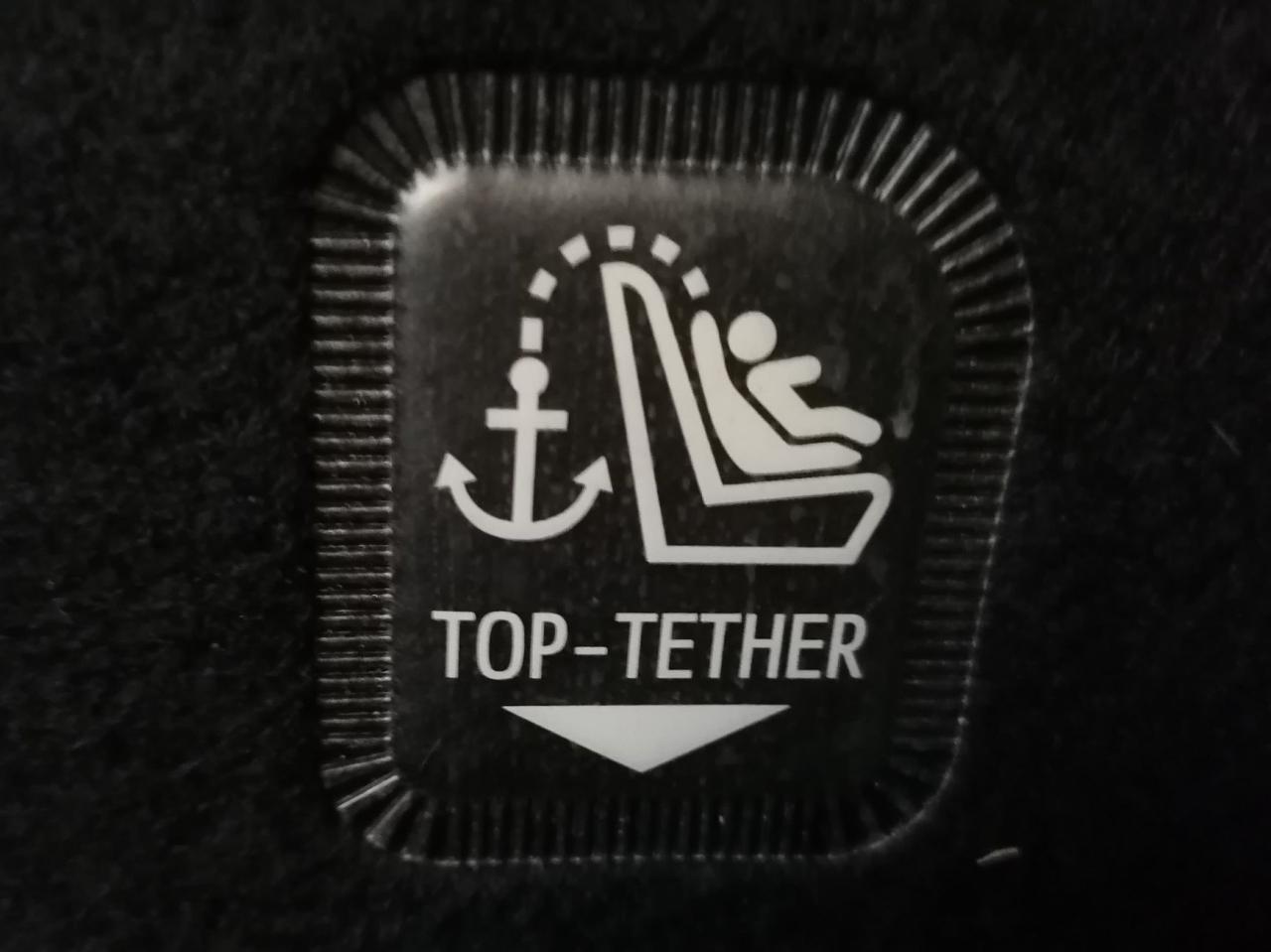 Symbol kotwicy wskazuje na uchwyt top tethera