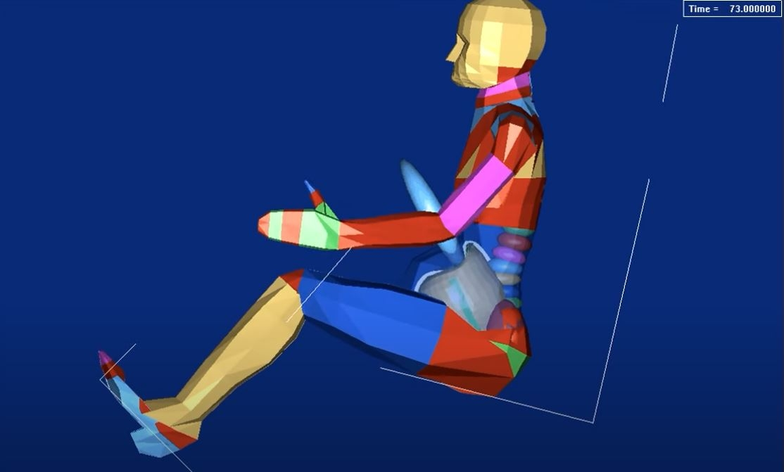 Symulacja wypadku z udziałem kobiety w ciąży jadącej bez pasa bezpieczeństwa<br />