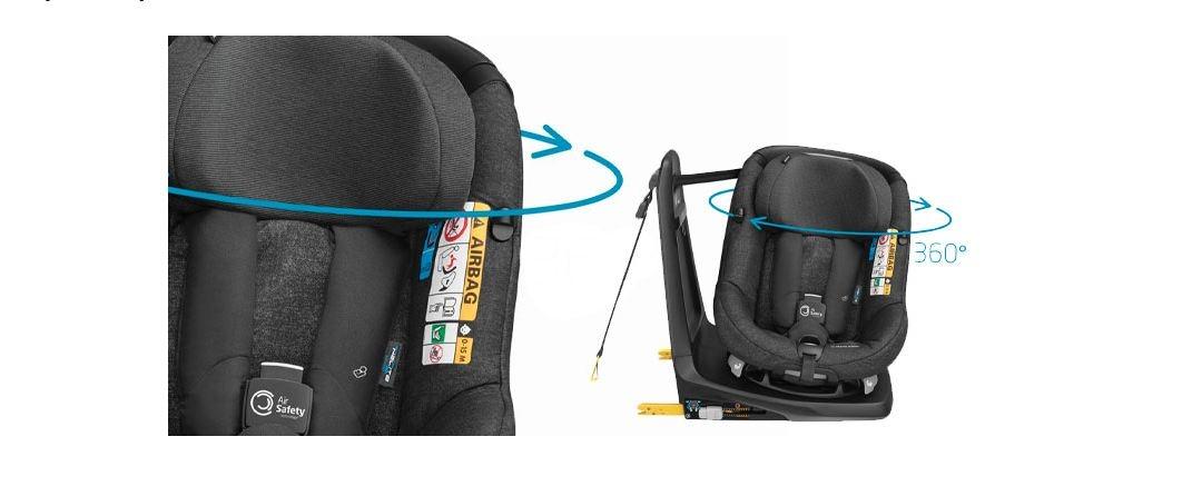 Fotelik Maxi-Cosi AxissFix Air z poduszkami powietrznymi, również posiada funkcję obrotu