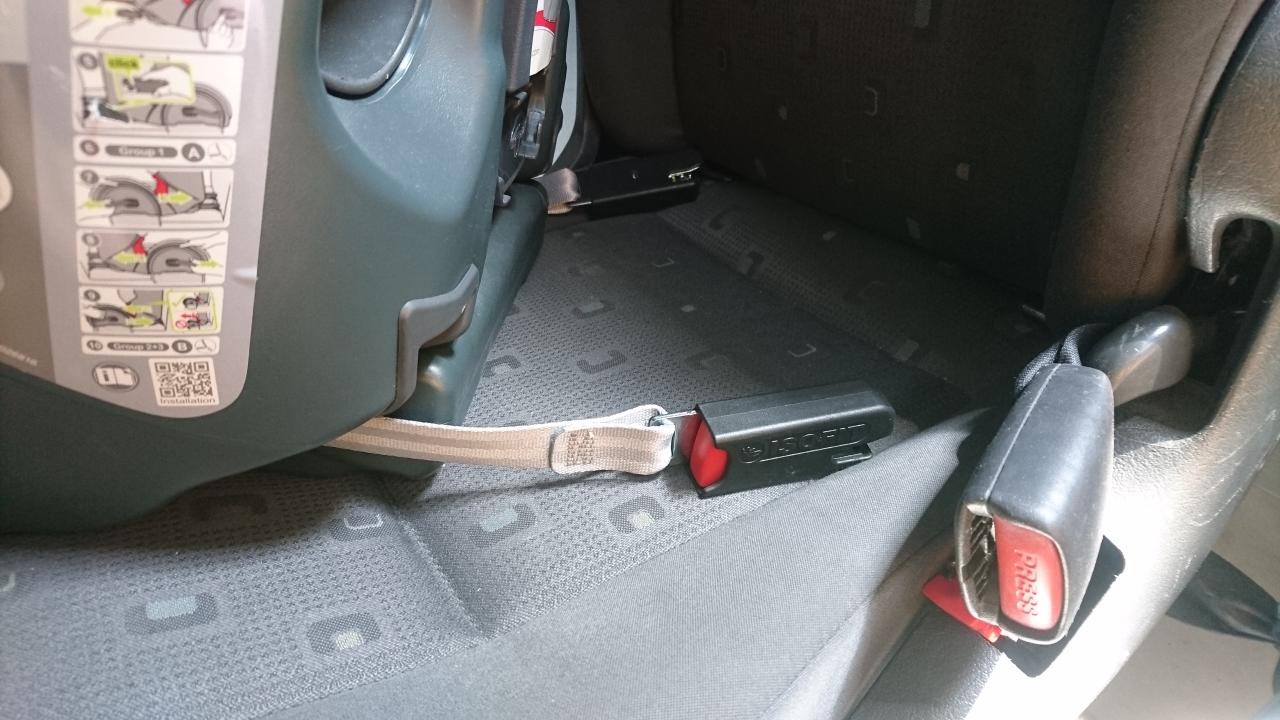 Zaczepy LATCH umieszczone są na specjalnych paskach z tyłu fotelika samochodowego.