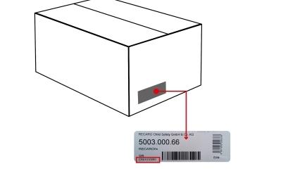 Miejsce, gdzie znajduje się kod serii baz RECARO fix