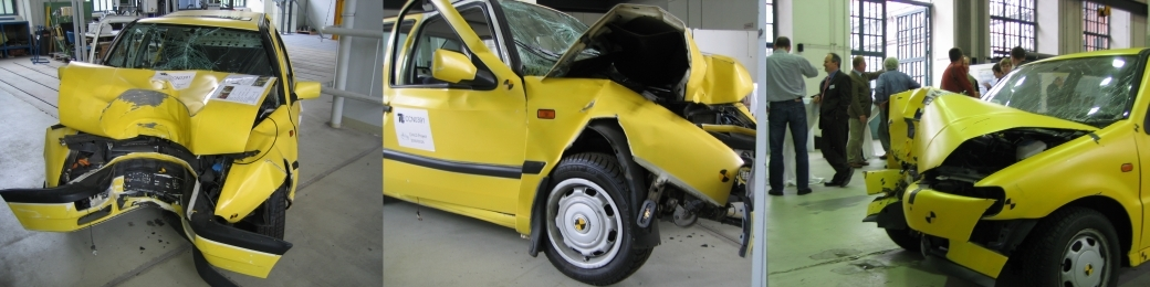 Programy badawcze CREST i CHILD - wraki samochodów użytych w rekonstrukcjach wypadków. fot: fotelik.info