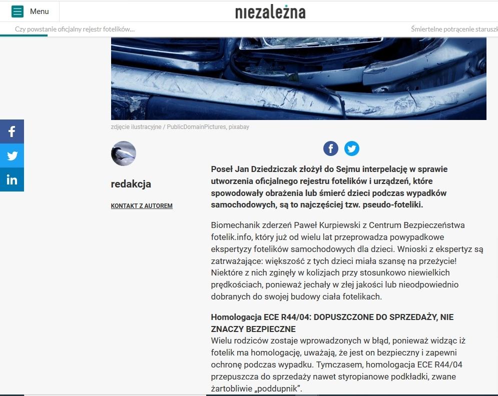 pseudo-foteliki i nasz pomysł omawiane na łamach portalu niezależna.pl