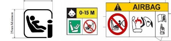 Propozycje nowych oznaczeń, które mają być umieszczone na fotelikach