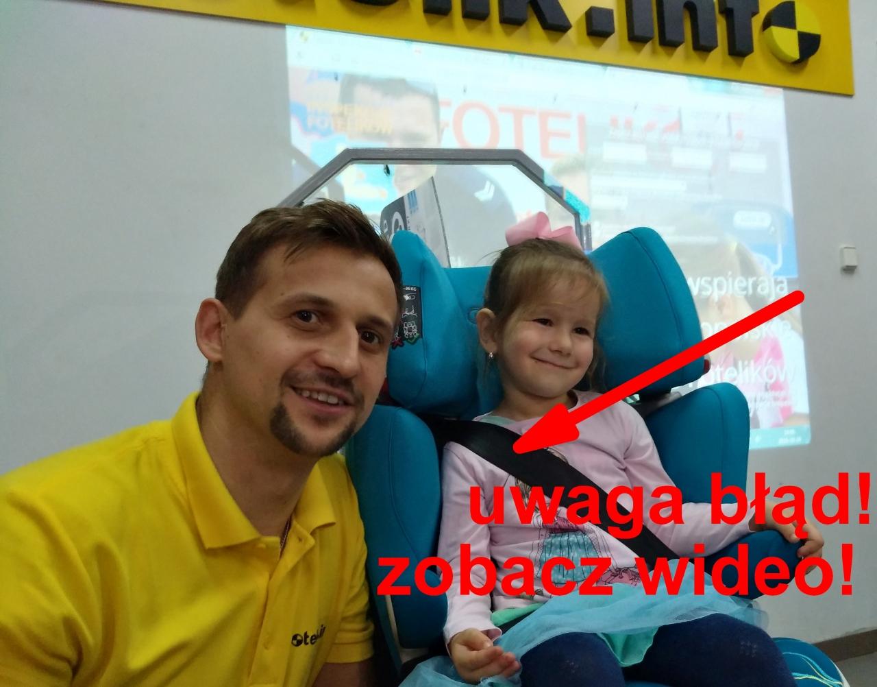 Wojciech Raboszuk o błędnym ustawieniu zagłówka i w konsekwencji pasa barkowego w fotelikach 15-36 kg.